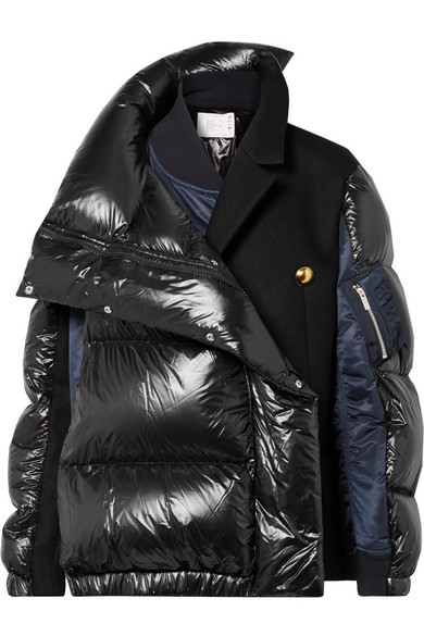 SACAI Oversized wool-paneled quilted shell down coat