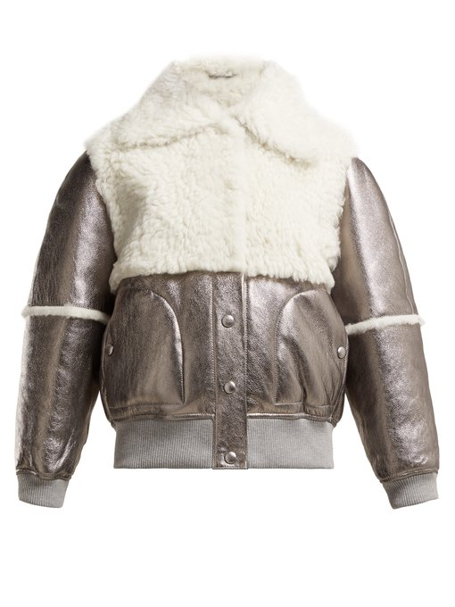 SEE BY CHLOÉ Crackled metallic leather and shearling jacket