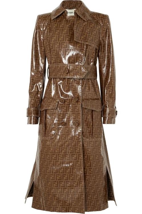 FENDI Printed vinyl trench coat