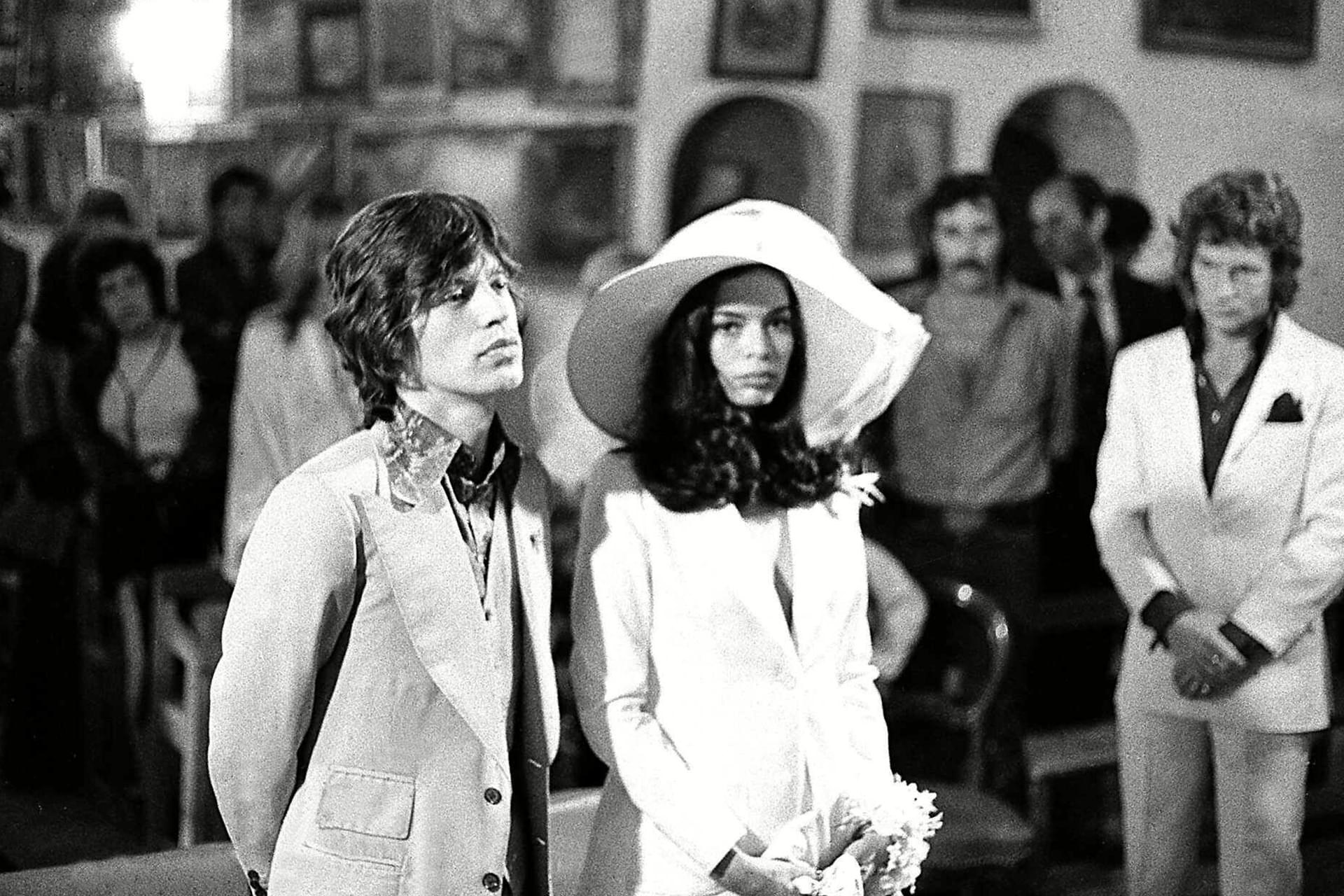Bianca Jagger at her wedding to Mick Jagger May 12, 1971 in Saint-Tropez