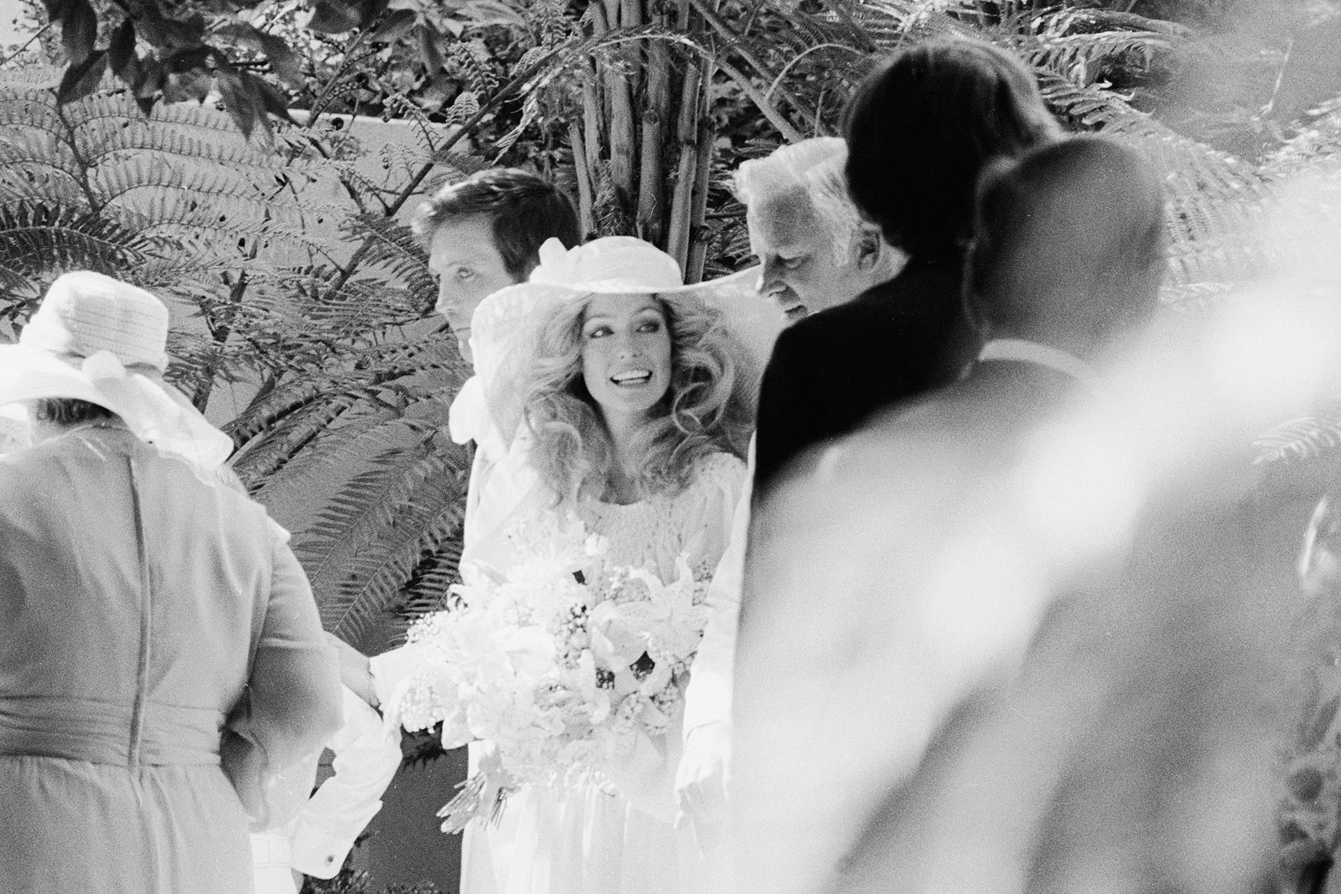 Farrah Fawcett at her wedding to Lee Majors July 28, 1973 in Los Angeles