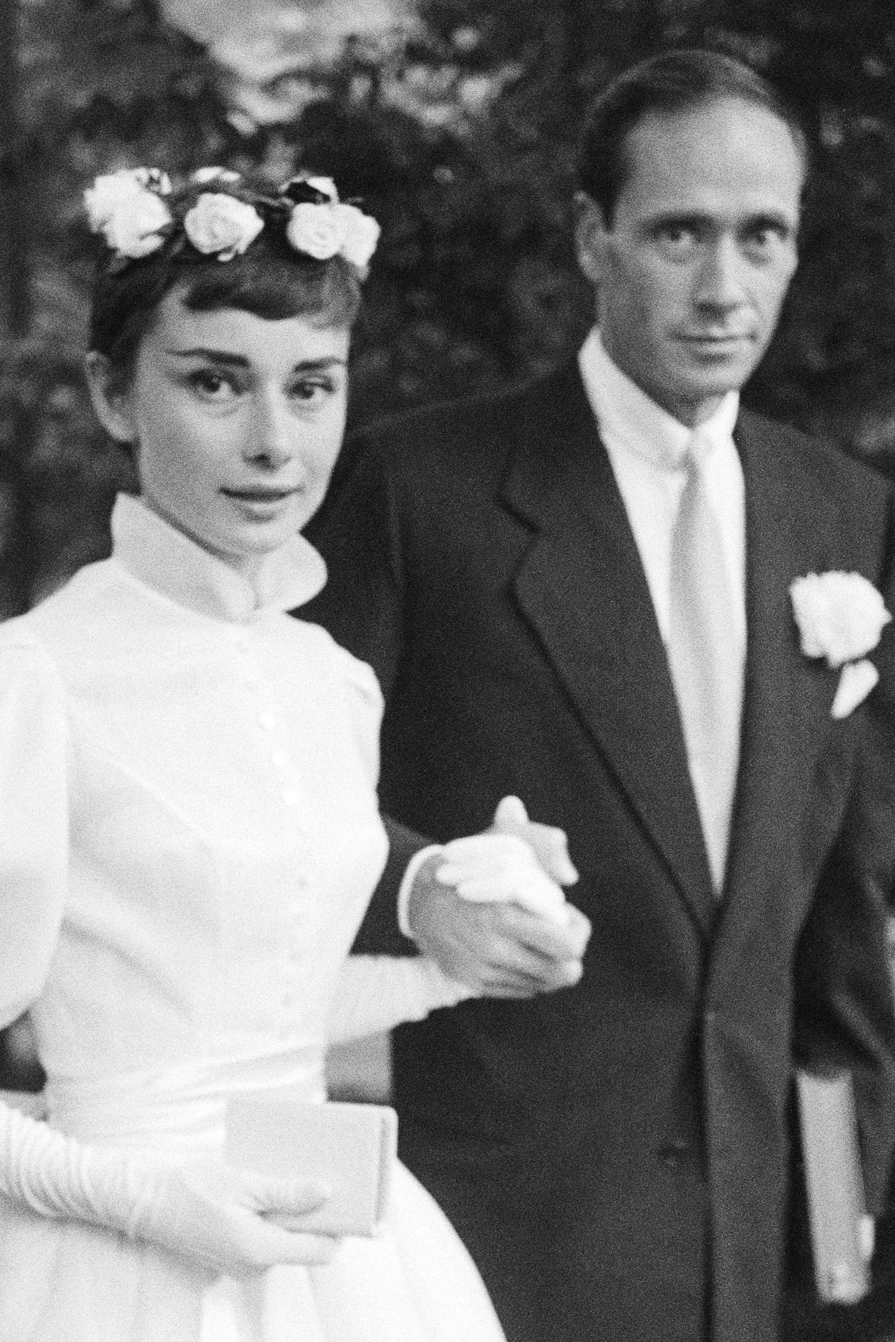 Audrey Hepburn at her wedding to Mel Ferrer September 25, 1954