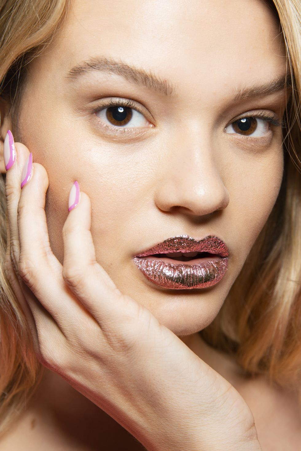 Foil like lips by Jeremy Scott