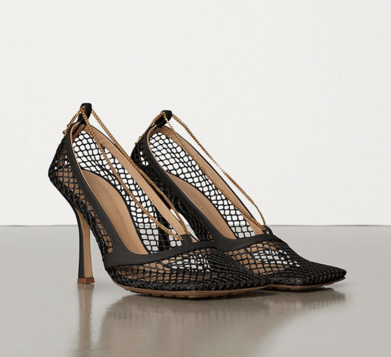 Stretch pumps in mesh by Bottega Veneta