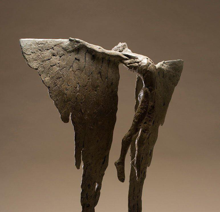 All the wide sky  Was there to tempt him as he steered toward heaven.   Ovid - Metamorphoses   Sculpture: Nicola Godden - Icarus Rising