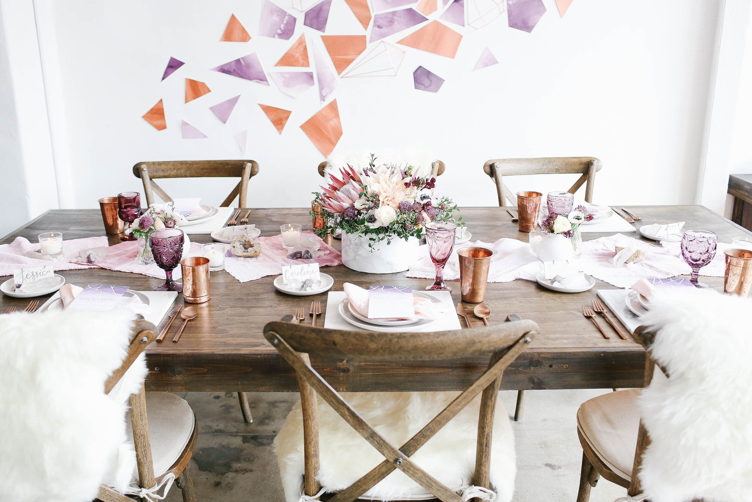 copper and plum modern bohemian wedding rehearsal dinner table design