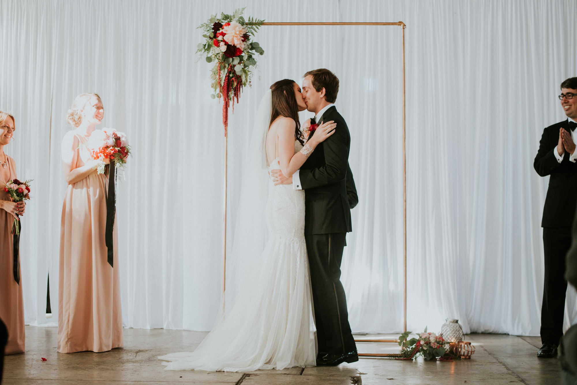 romantic industrial loft BRICK san diego wedding ceremony