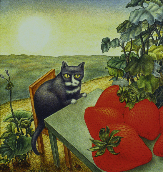Blue Cat and Strawberries