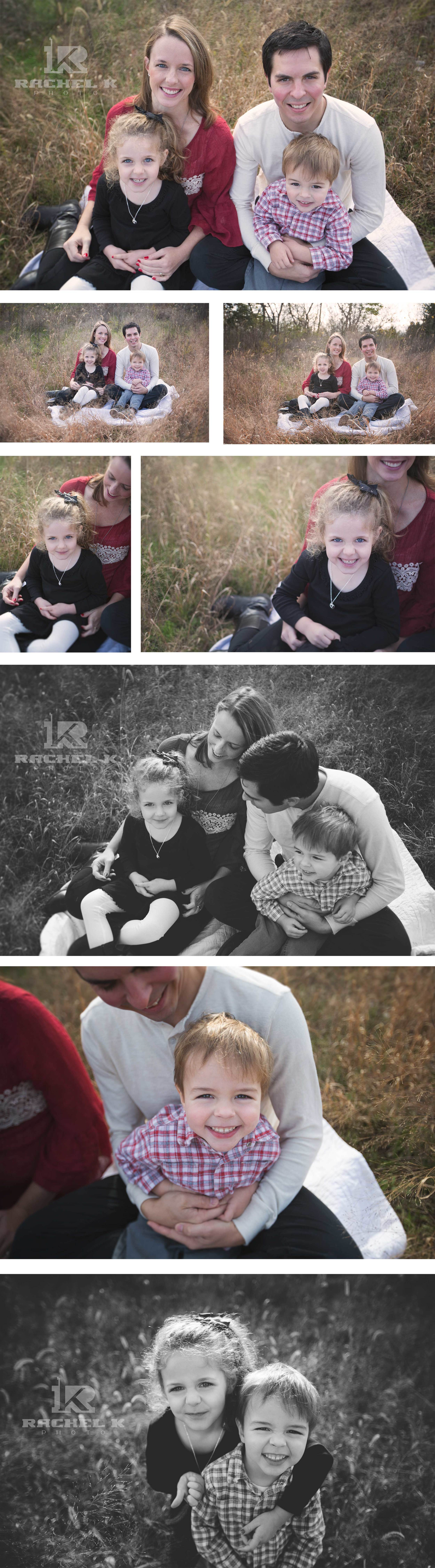 Family photos in field