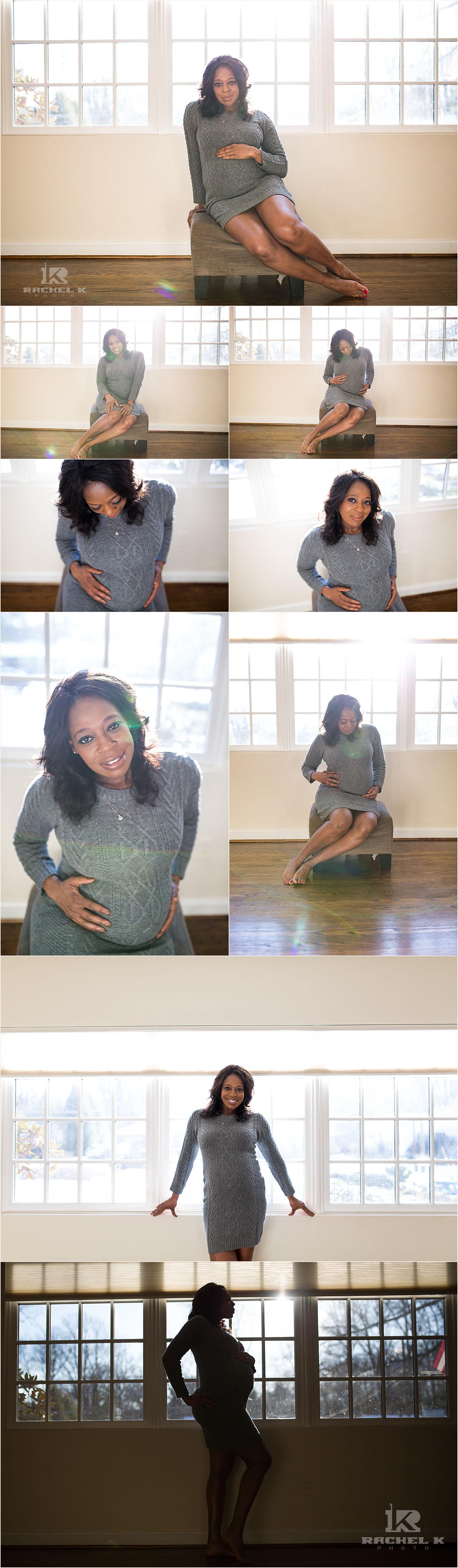 Arlington VA Indoor maternity session by Rachel K Photo