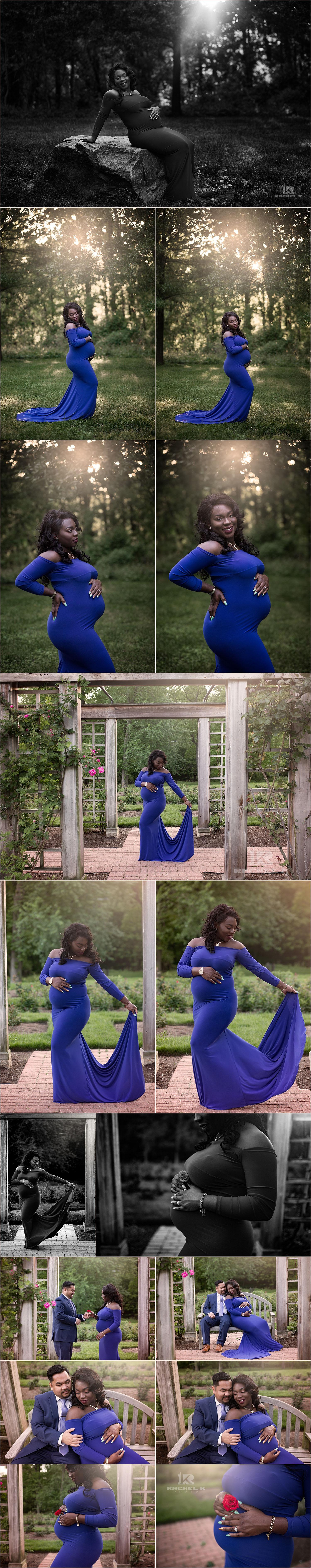 Arlington blue dress maternity session in rose garden by Rachel K Photo