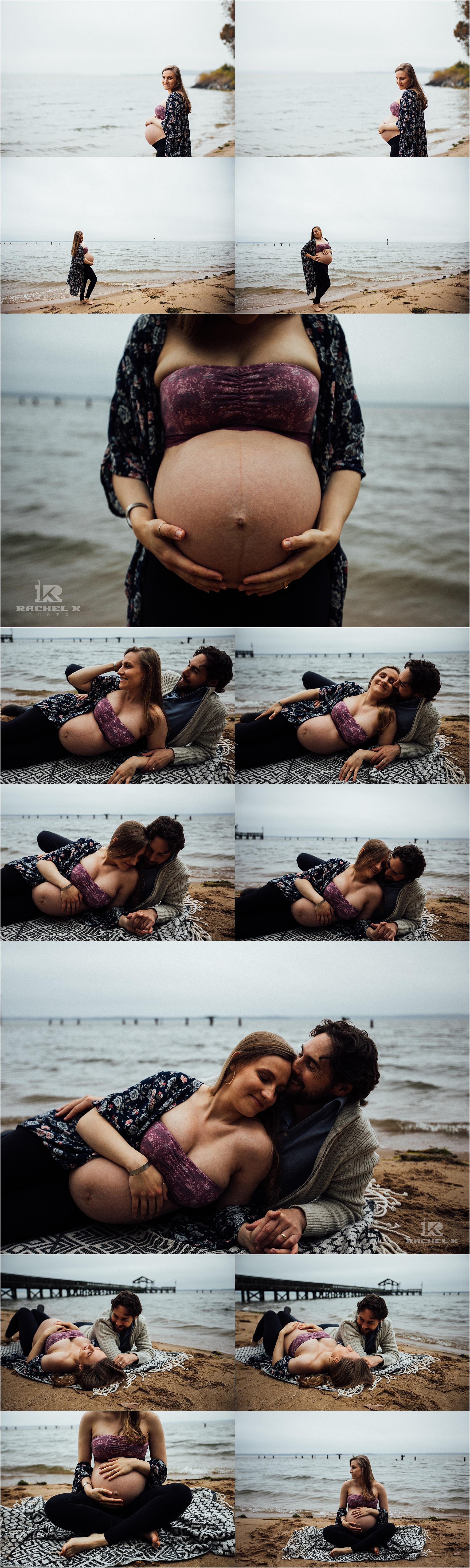 Overcast moody maternity session by Arlington Virginia maternity photographer Rachel K Photo