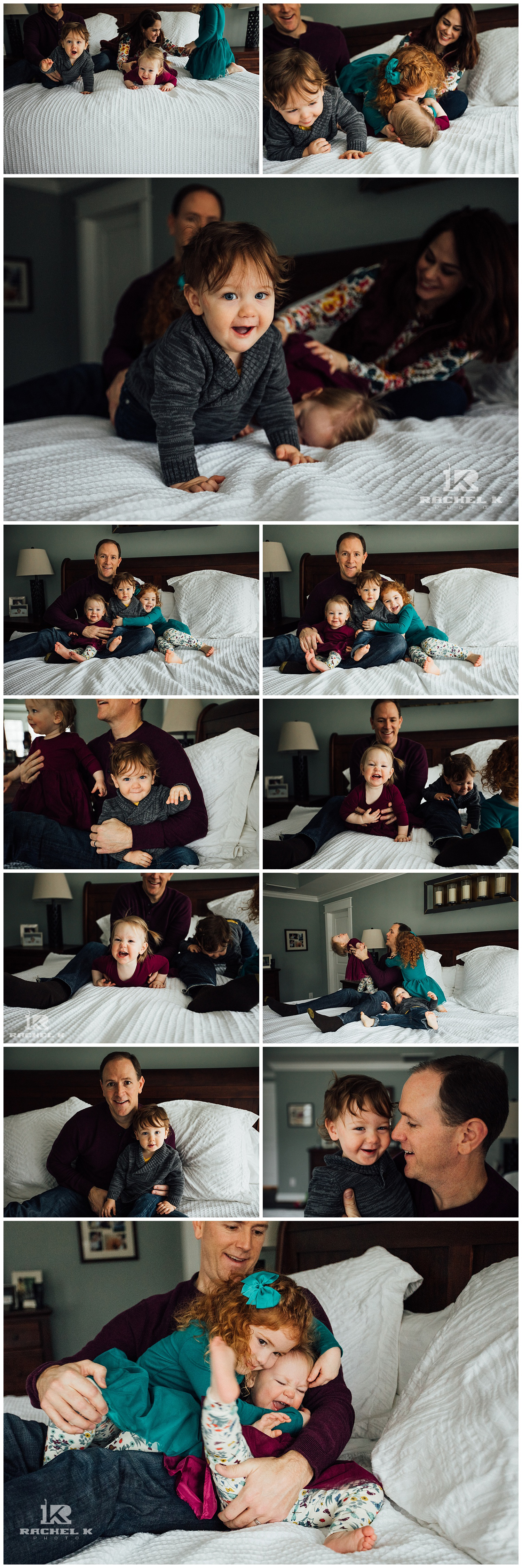 winter indoor family session with twins by Northern Virginia photographer Rachel K Photo