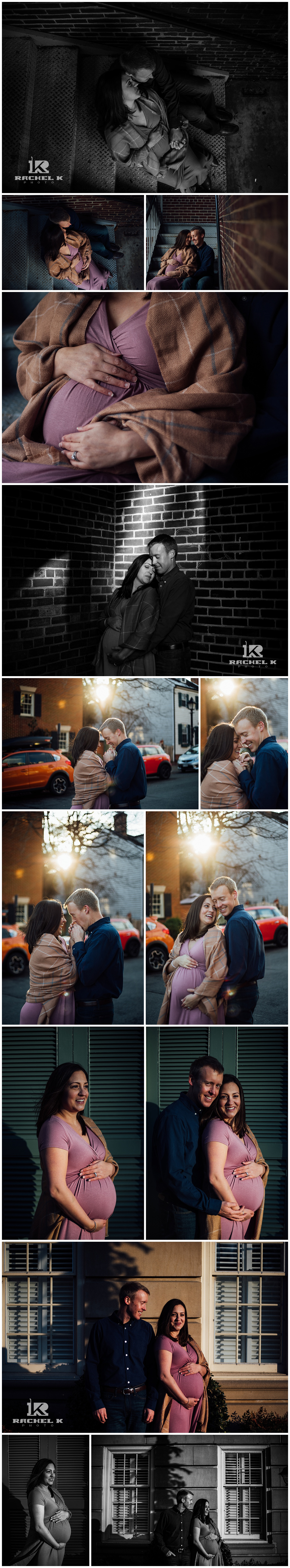 Winter Old Town Alexandria maternity session in pink dress by Rachel K Photo
