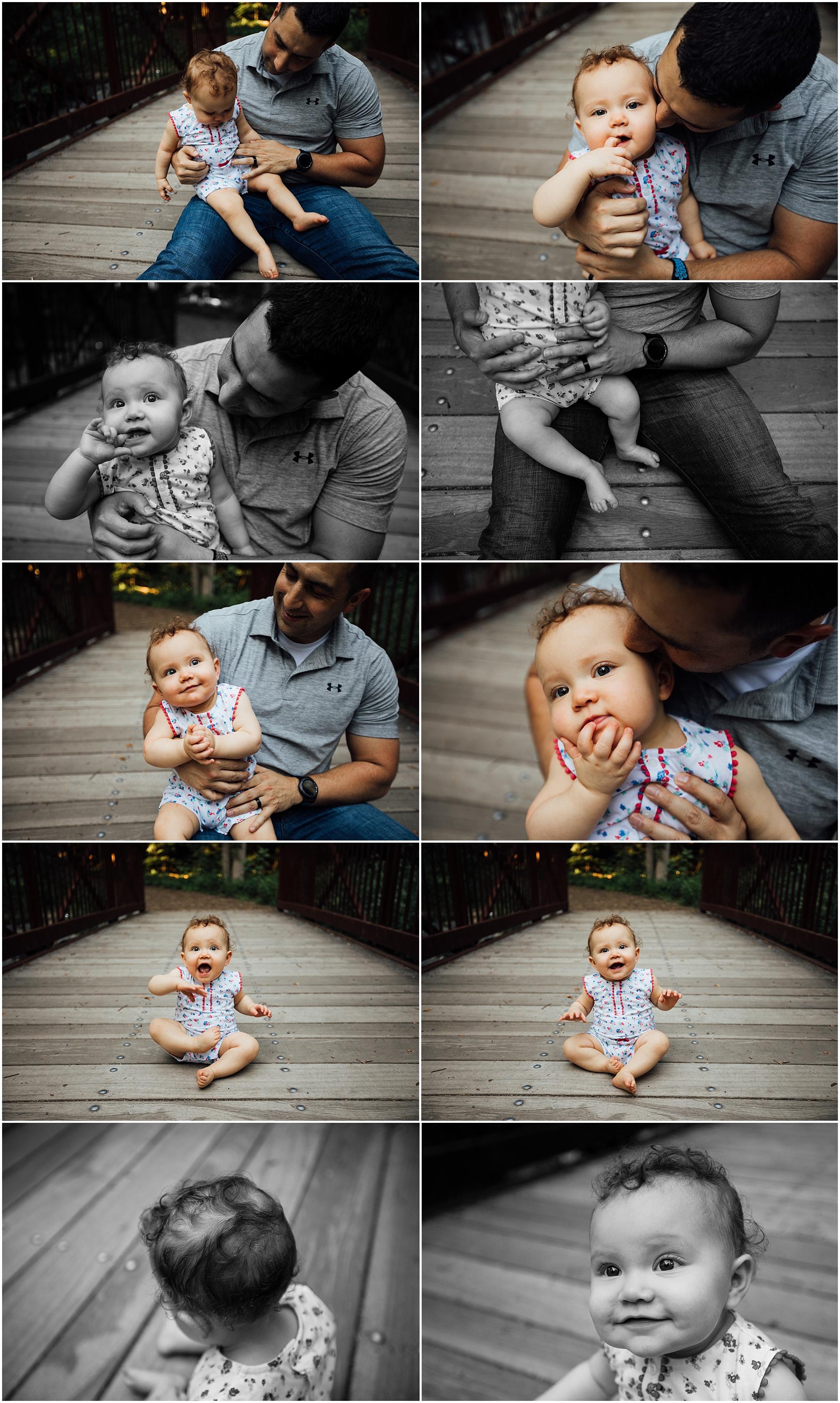 one year old family session on bridge by Madison Alabama photographer Rachel K Photo