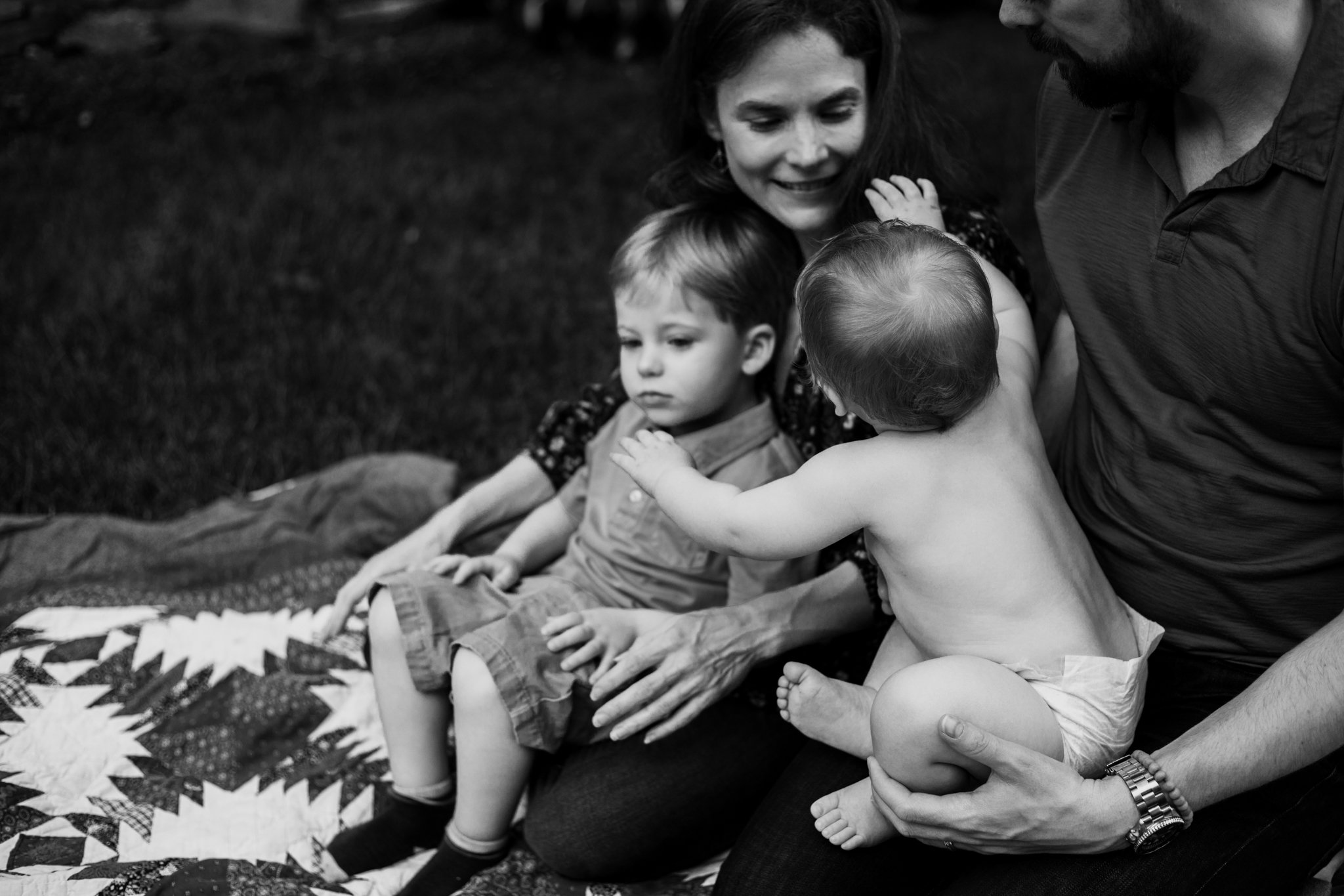 Baby reaches for momma by Madison and Huntsville Alabama family photographer Rachel K Photo