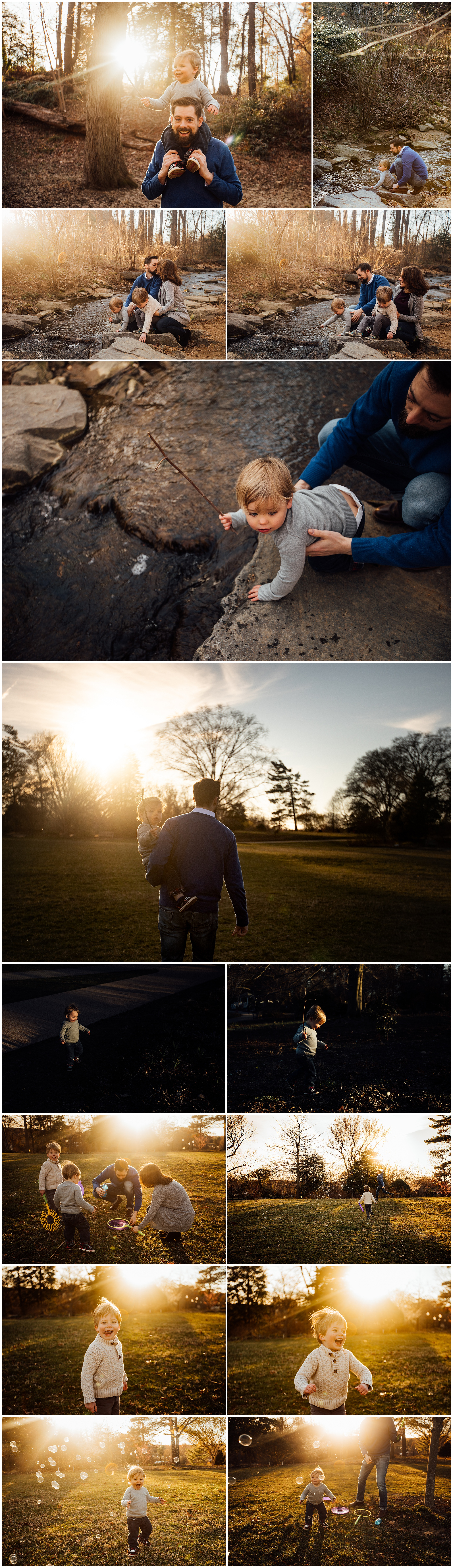 sunlit family session by a creek by Huntsville and Madison Alabama family photographer Rachel K Photo