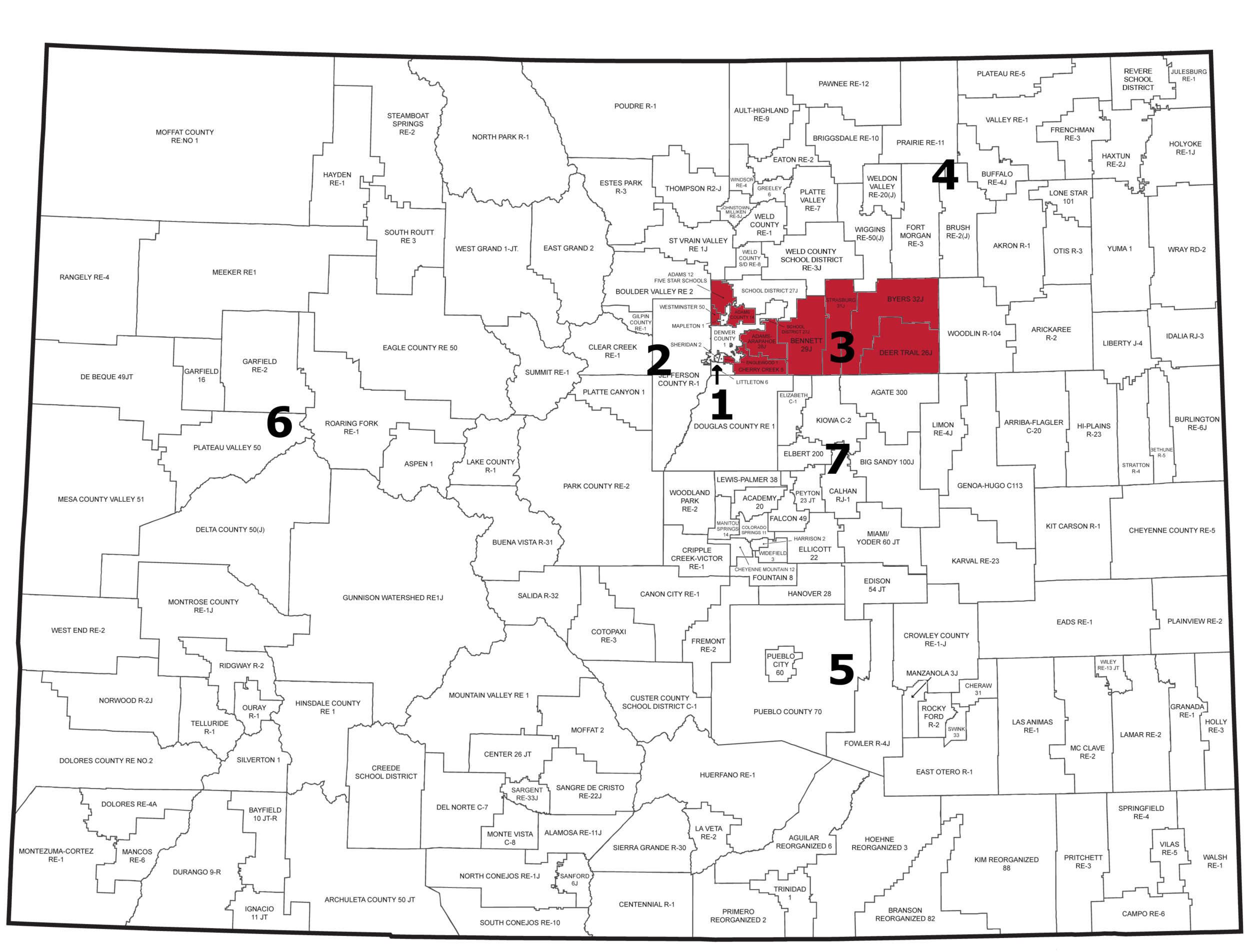 Region 3: Aurora Public Schos, Adams County 14, Bennett 29J, Northglenn, Thornton, Strasburg, Westminster, Byers, Cherry Creek, Deer Trail