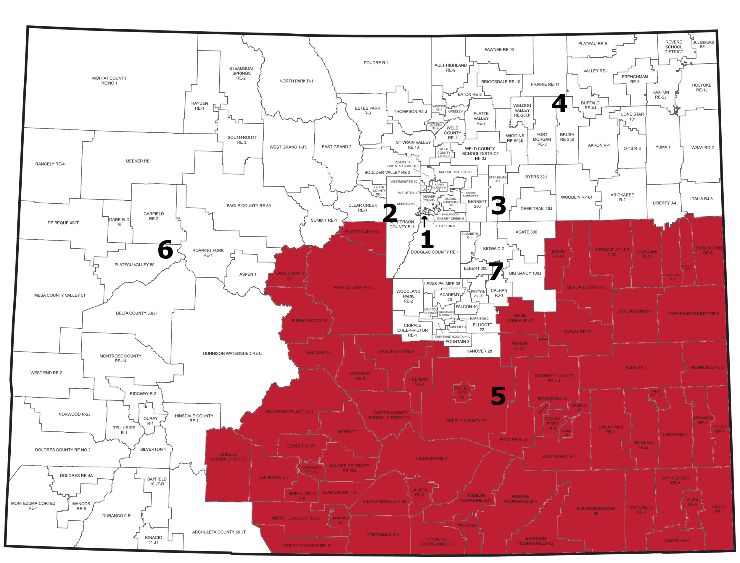 Region 5: Districts in Southern Counties (Baca, Prowers, Kiowa, Cheyenne, Kit Carson, Lincoln, Crowley, Bent, Chaffee, Otero, Las Animas, Huerfano, Pueblo, Costilla, Alamosa, Conejos, Rio Grande, Mineral, Saguache, Custer, Fremont, Park, and Lake counties)