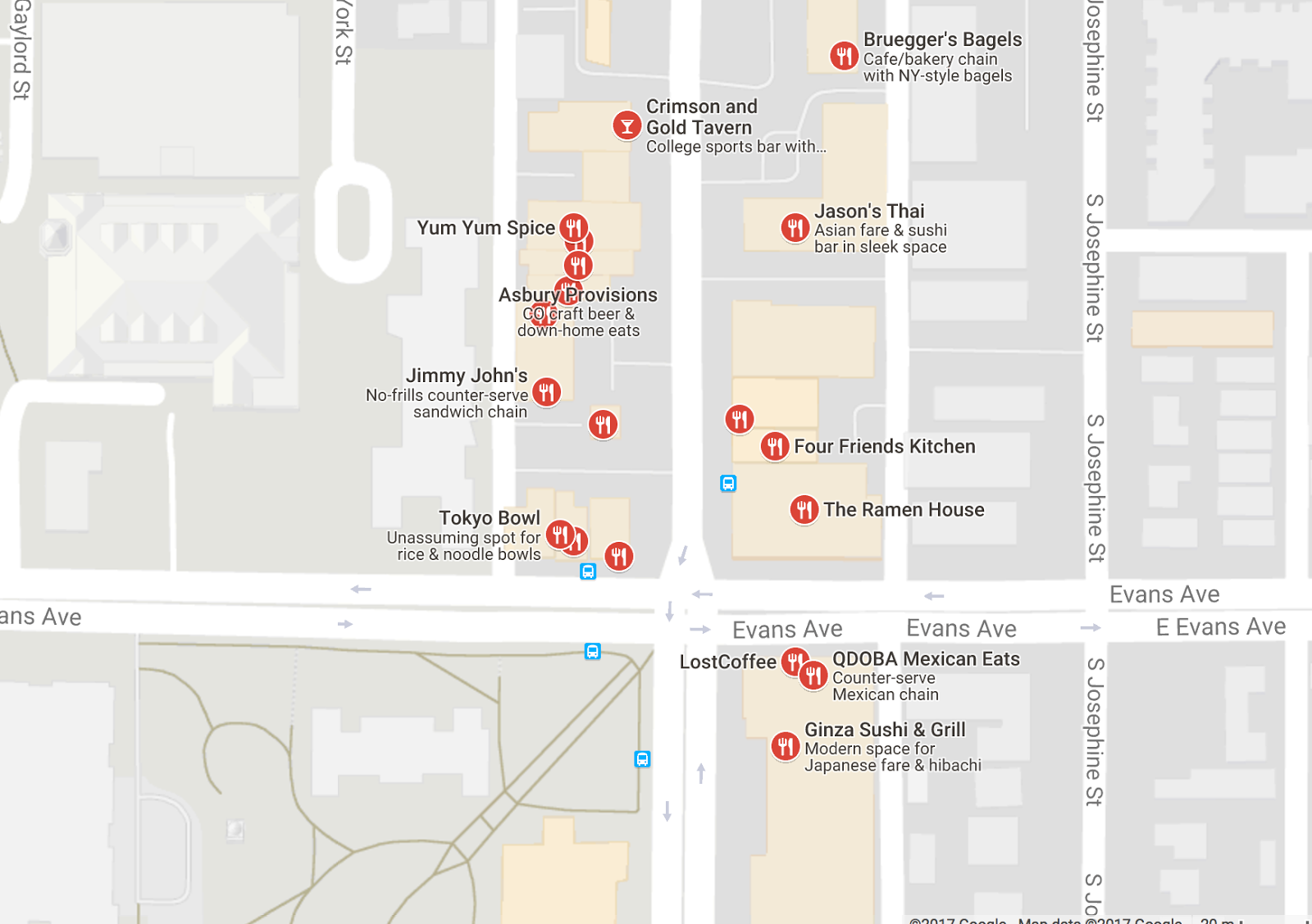 Restaurants to the east of main campus (near University and Evans)