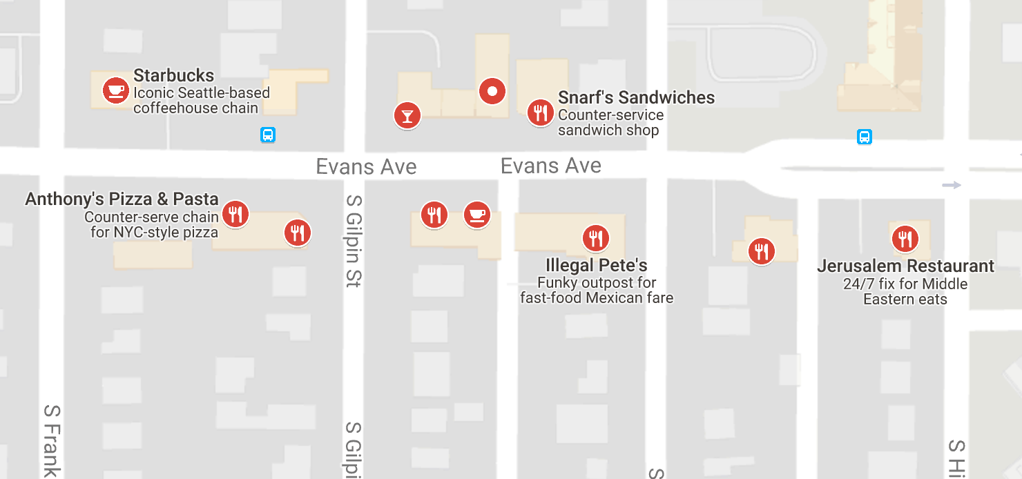 Restaurants to the west of main campus (near High St. and Evans)