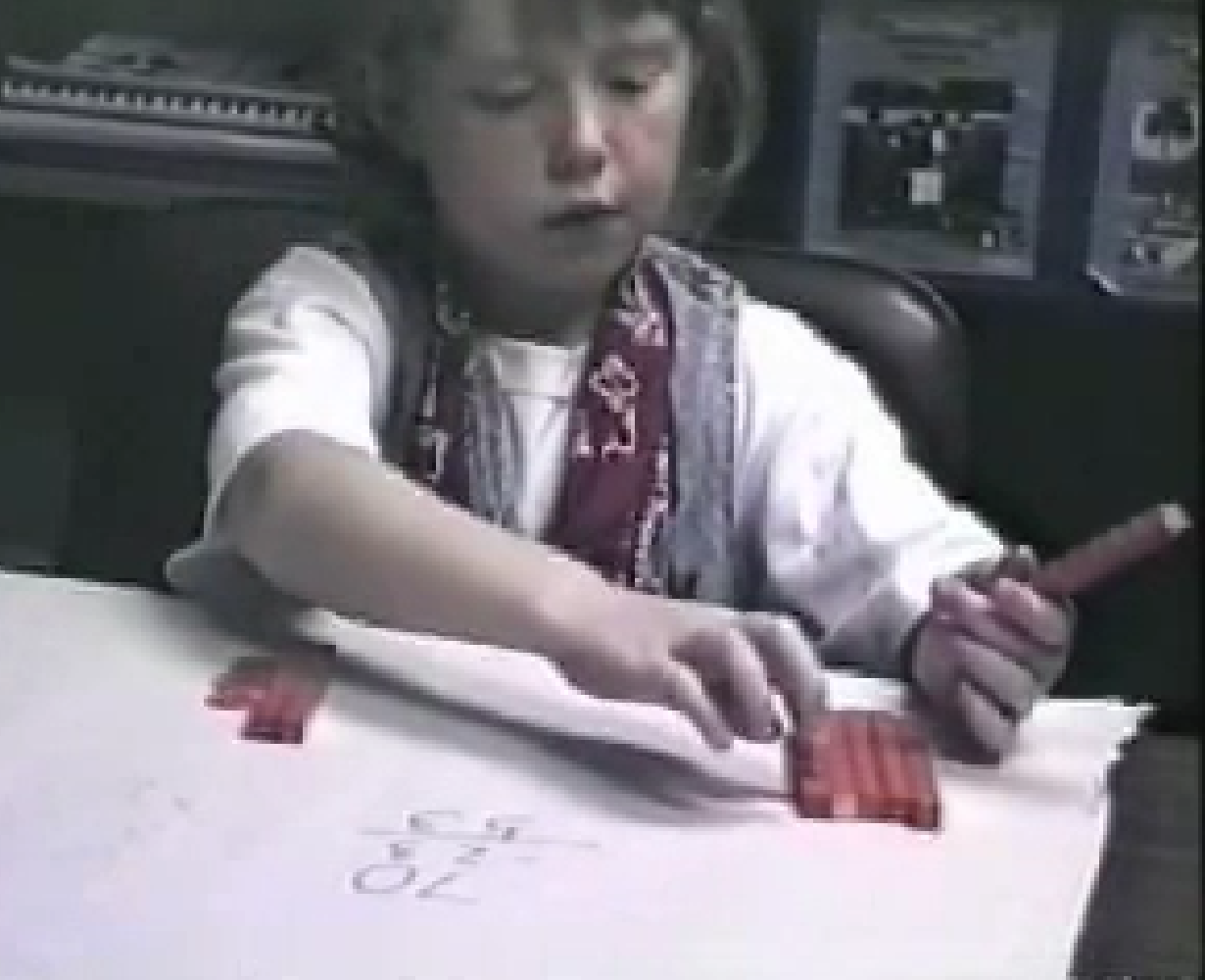 Figure 2. Gretchen using the base ten blocks.