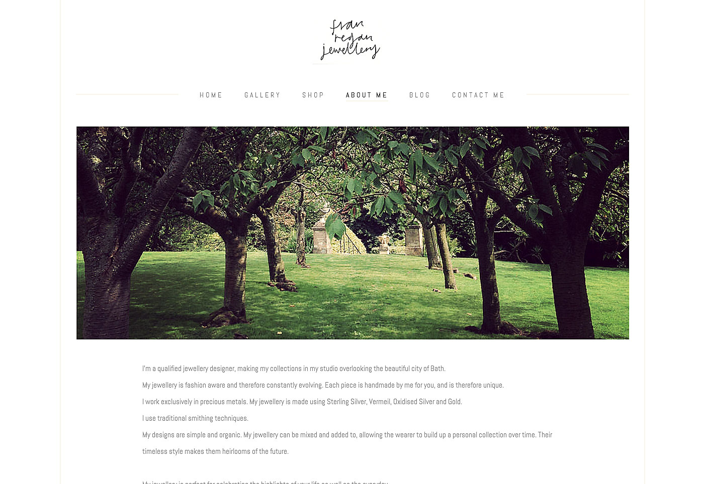 website page for jewellery company with avenue of trees
