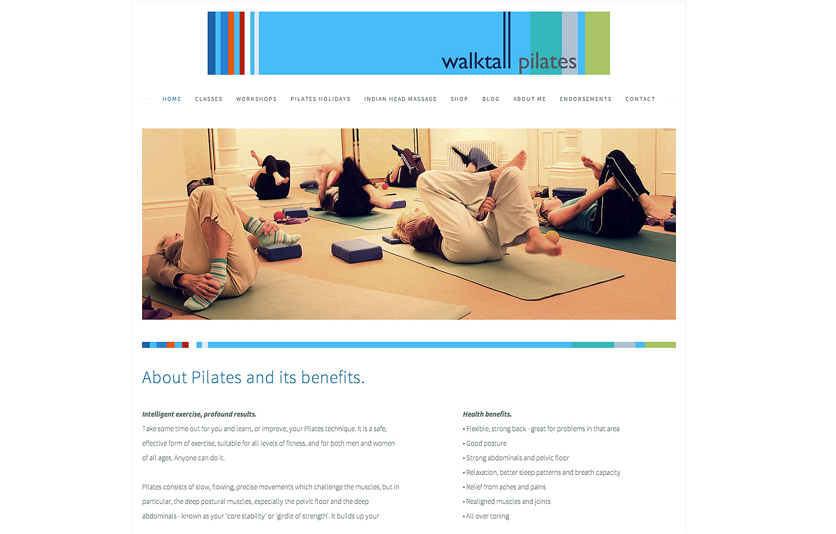 home page for website for pilates classes with logo and photograph of ladies on mats