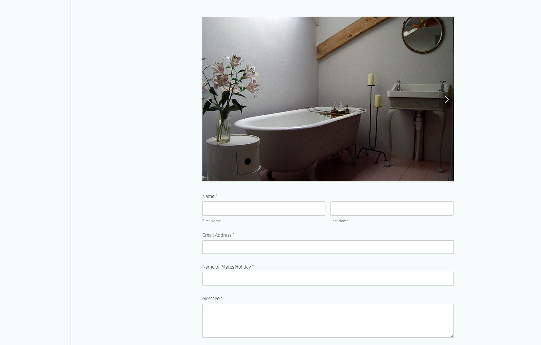 website page for pilates holiday bookings with photo of beautiful bathroom with roll top bath