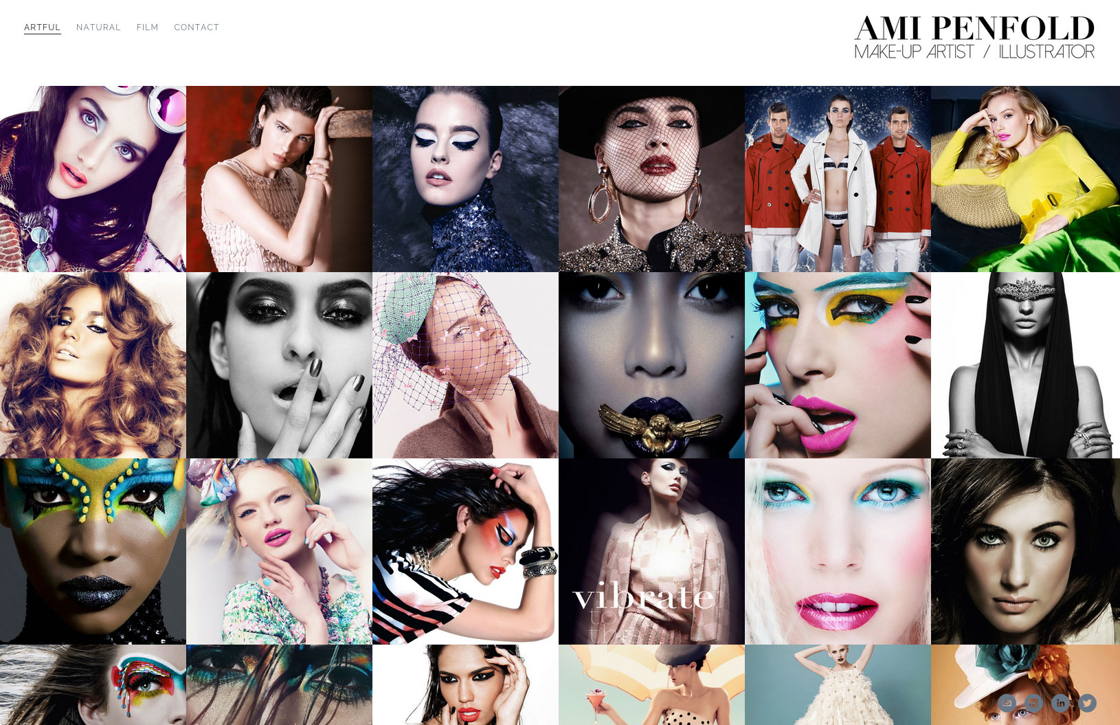 many photographs of make-up design on models