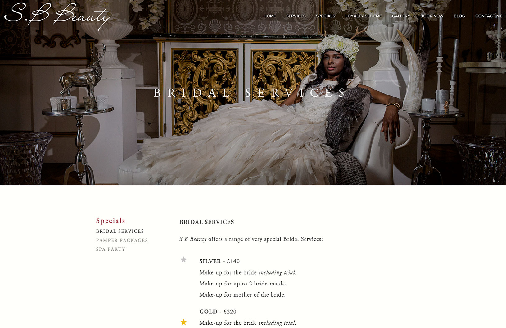 bridal make-up page for beauty salon with image of a bride in a sumptuous bedroom