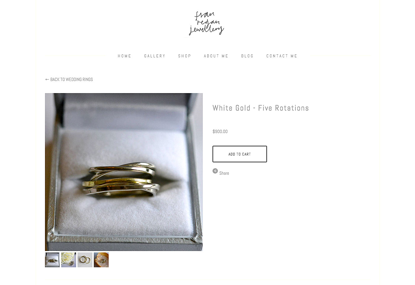 shopping website page for gold ring in box with shopping buttons