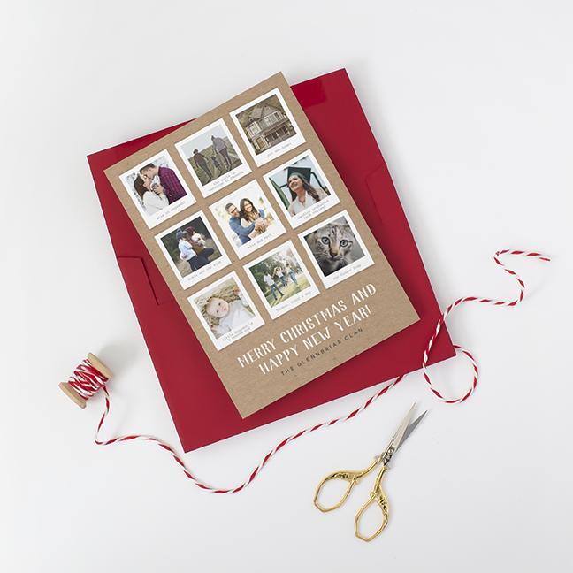 Kraft Paper Polaroid Photo Holiday Card