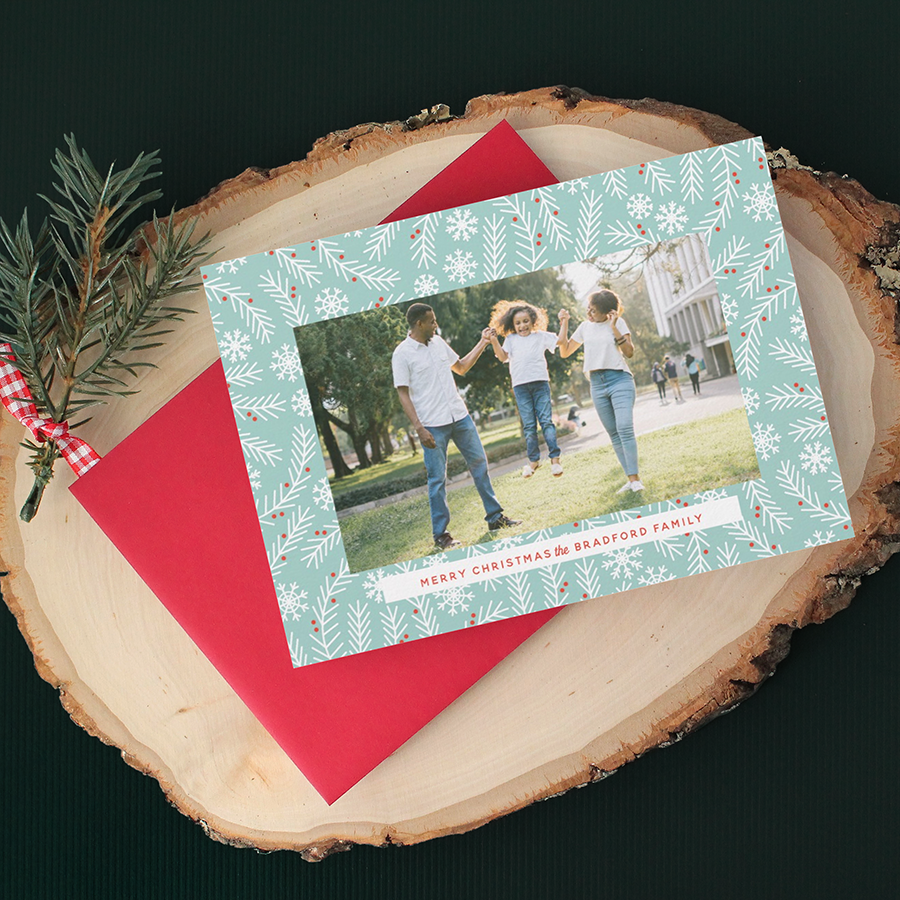 Modern Retro Branch and Snowflake Frame Christmas Card