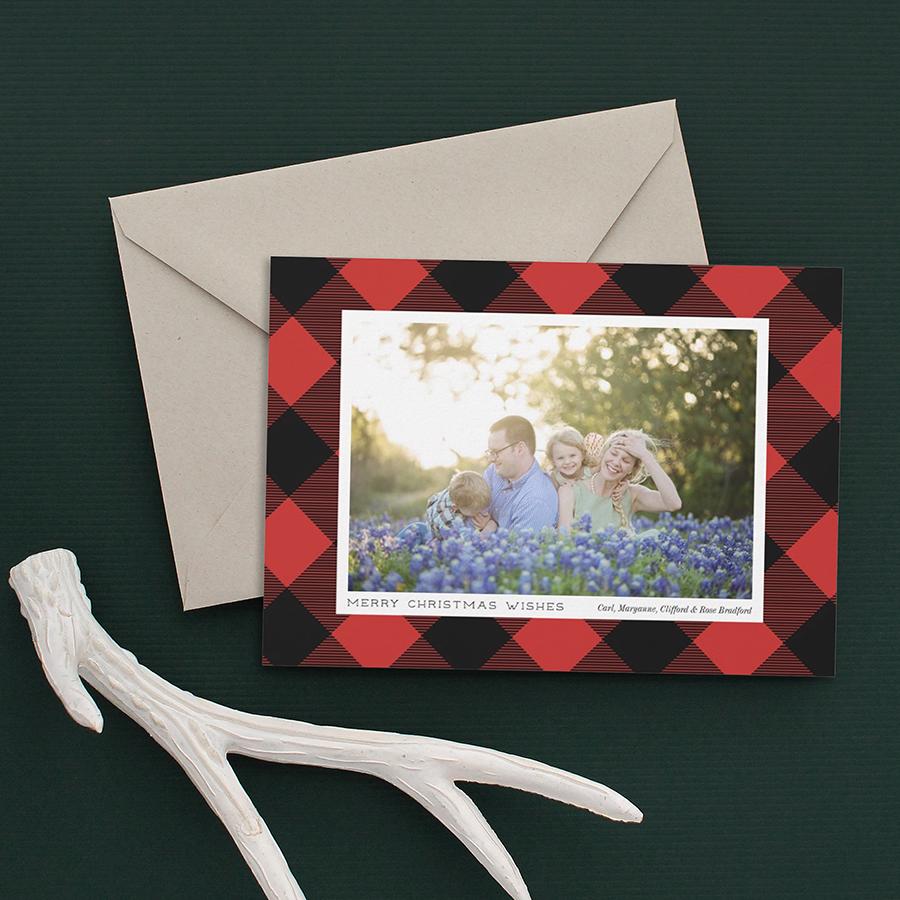 Red Buffalo Check Holiday Photo Card