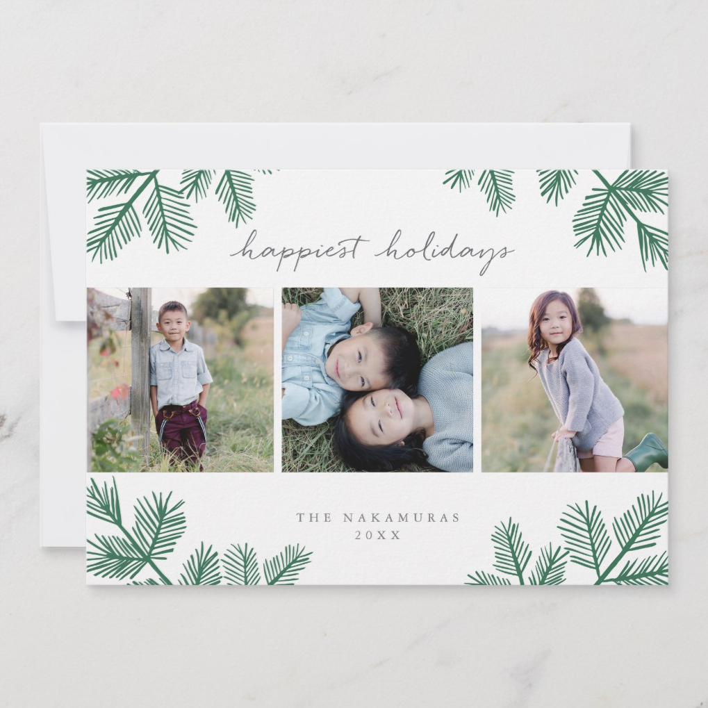 When you can't pick just one photo for your cards a design like this is key! Three square photos are encircled by contemporary, illustrated pine boughs with simple and chic text.     Evergreen Pine by Paper Dahlia