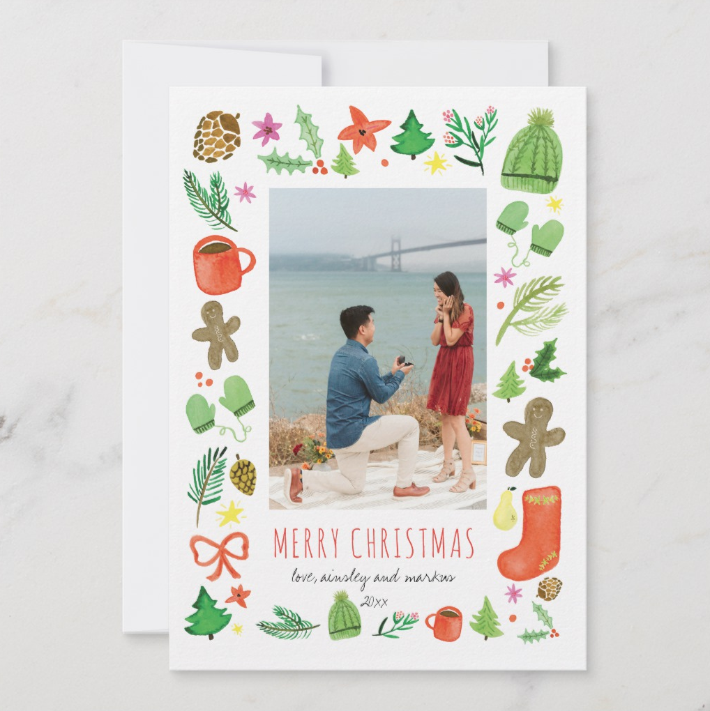 How could you resist these adorable, hand-painted winter and Christmas icons? They frame your vertical photograph so cheerfully!   Iconic Christmas Watercolor by Erika Firm