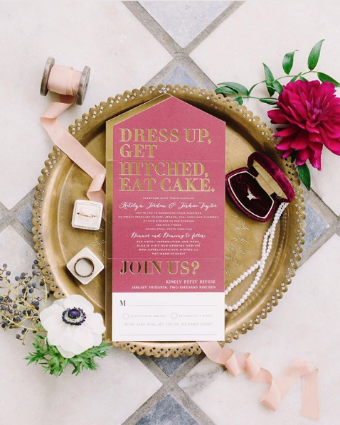 """The """"candy"""" color all-in-one format with gold foil styled and photographed by  Wild Cotton Photography."""