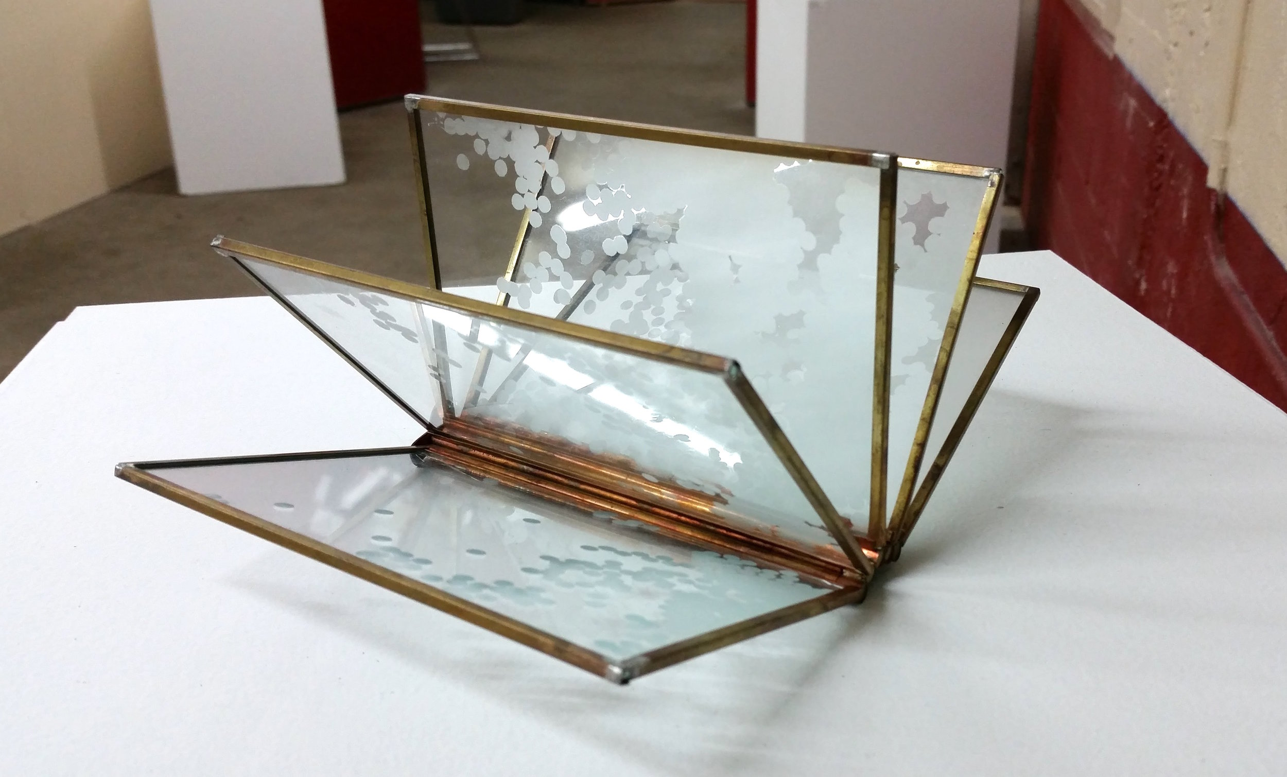 Laura Miracle,  Glass Book , Brass and etched glass