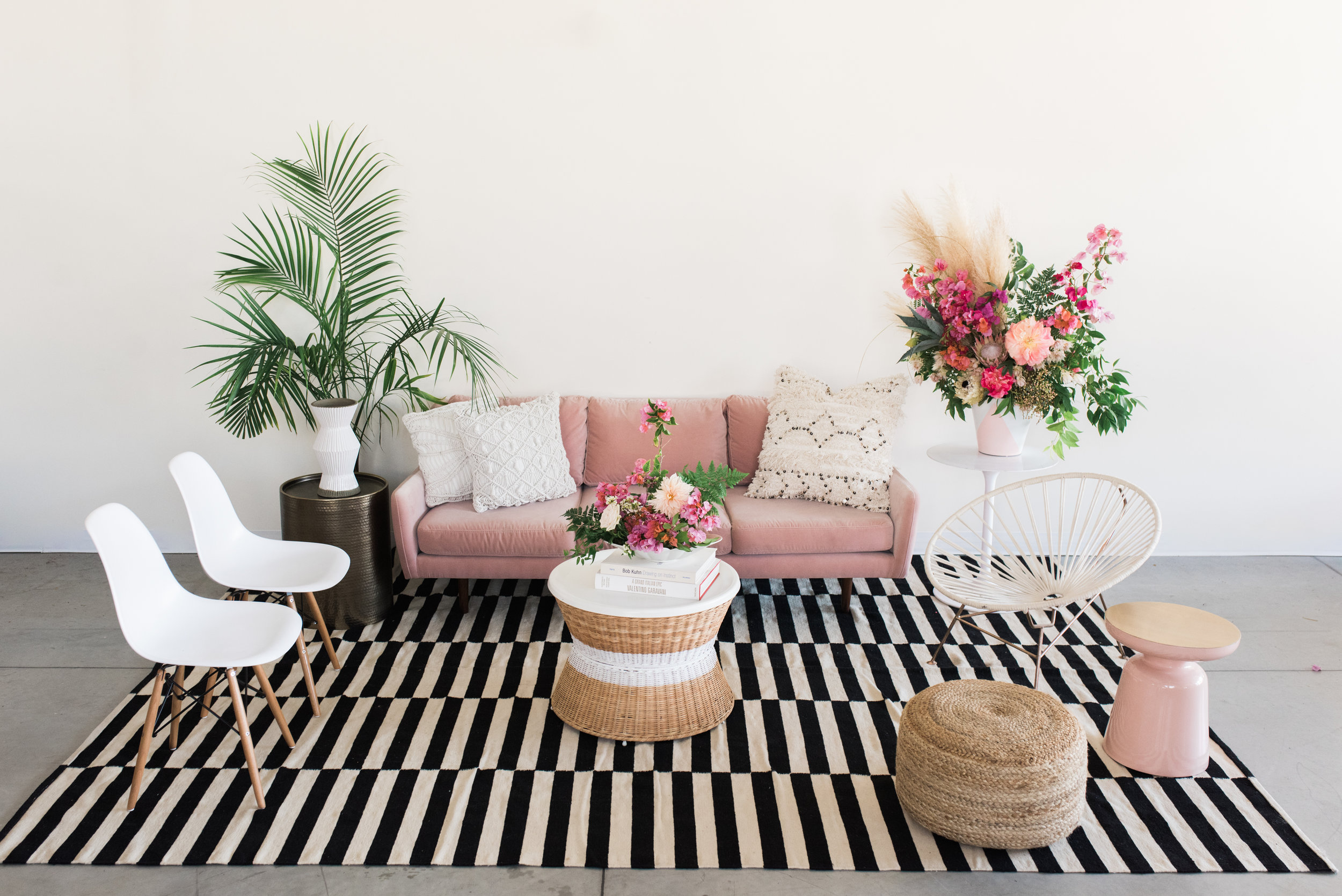 Furniture with pillows, rugs and poufs: $840  Furniture only: $555  ***Potted plants, vases of flowers, bowls of fruit and books are not included.