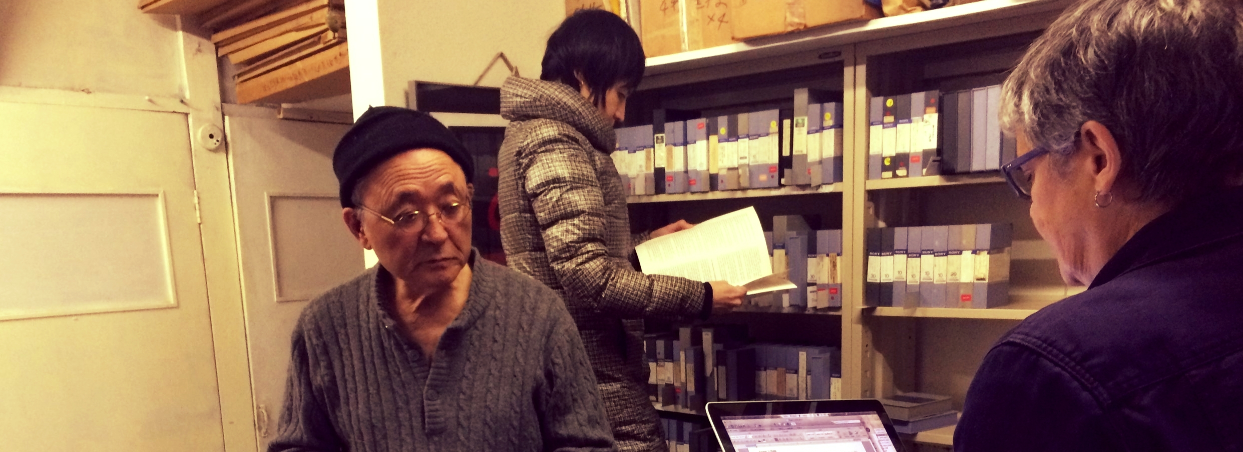 Collection Survey at artist Iimura Takahiko's Tokyo Studio with Mona Jimenez (right) and Laurie Duke (middle). November, 2016.