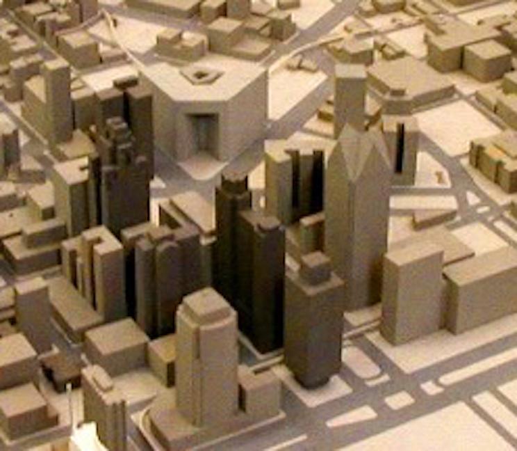 손으로 제작한 건물 모형  레이저 가공기와 손으로만 만든 일반 모형(단순한 박스 형태)