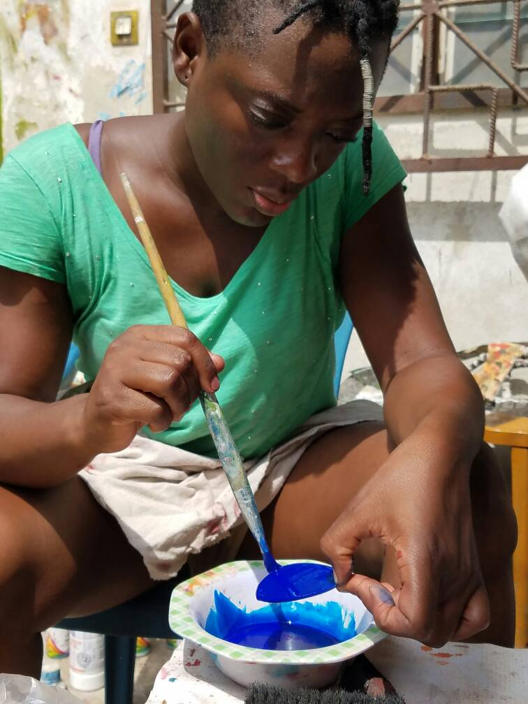 Sika in her Cotonou atelier (workshop).