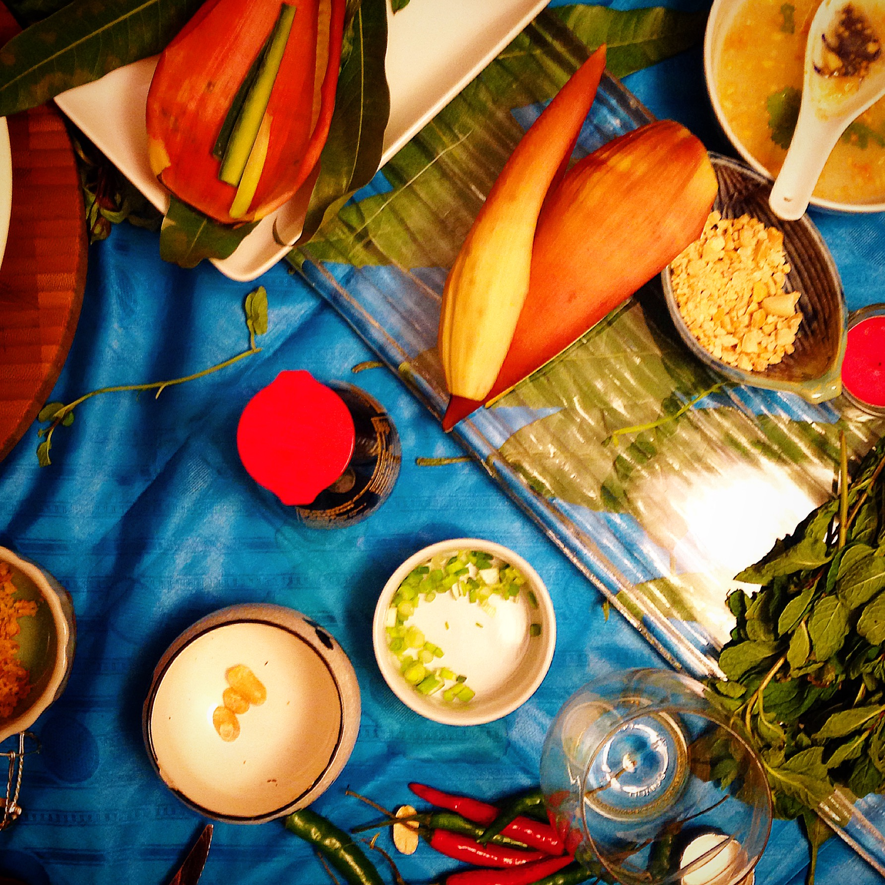 The beautiful aftermath of a mostly plant-based Vietnamese meal.