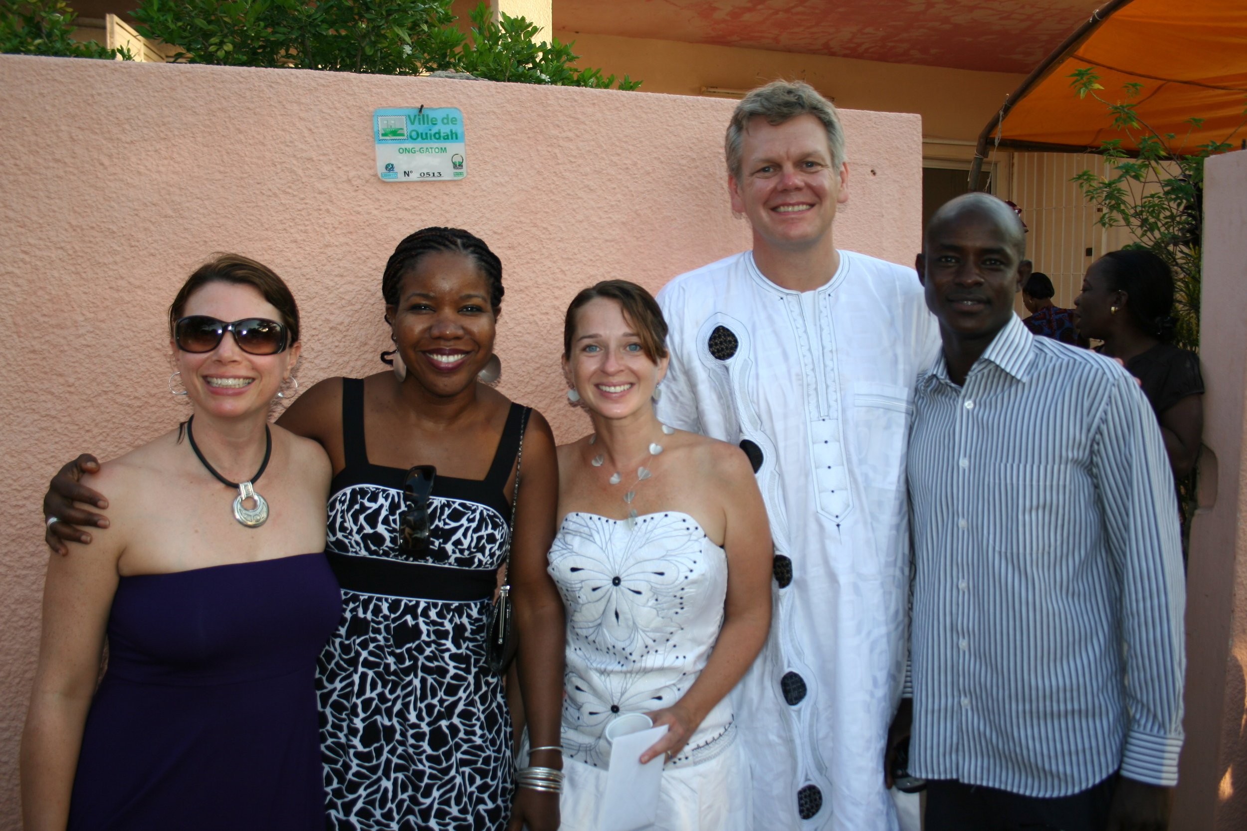 The joy of finally making it to our own wedding! Lauren, Iffy, and Abdou helped us celebrate.