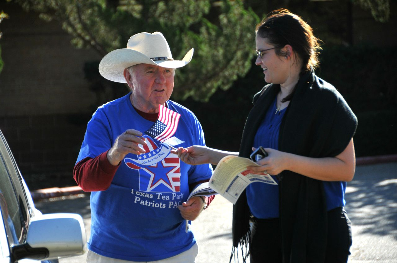 Our volunteers work hard in the parking lots of polling places during elections!