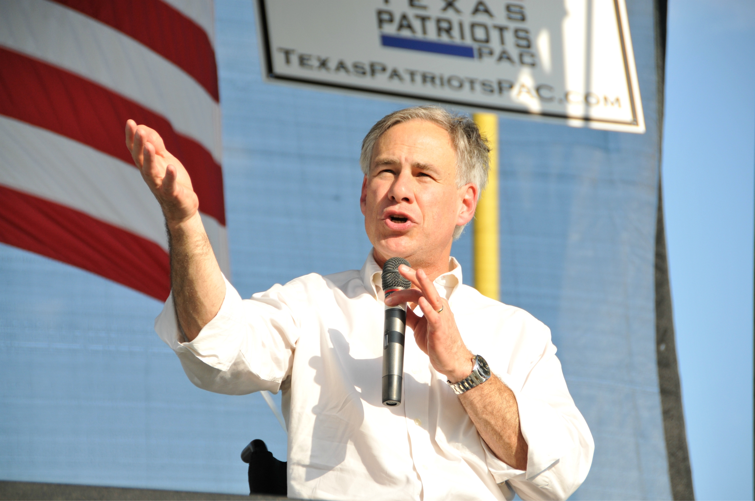 Then-Attorney General Greg Abbott speaking at our rally in Conroe during his campaign for Governor.