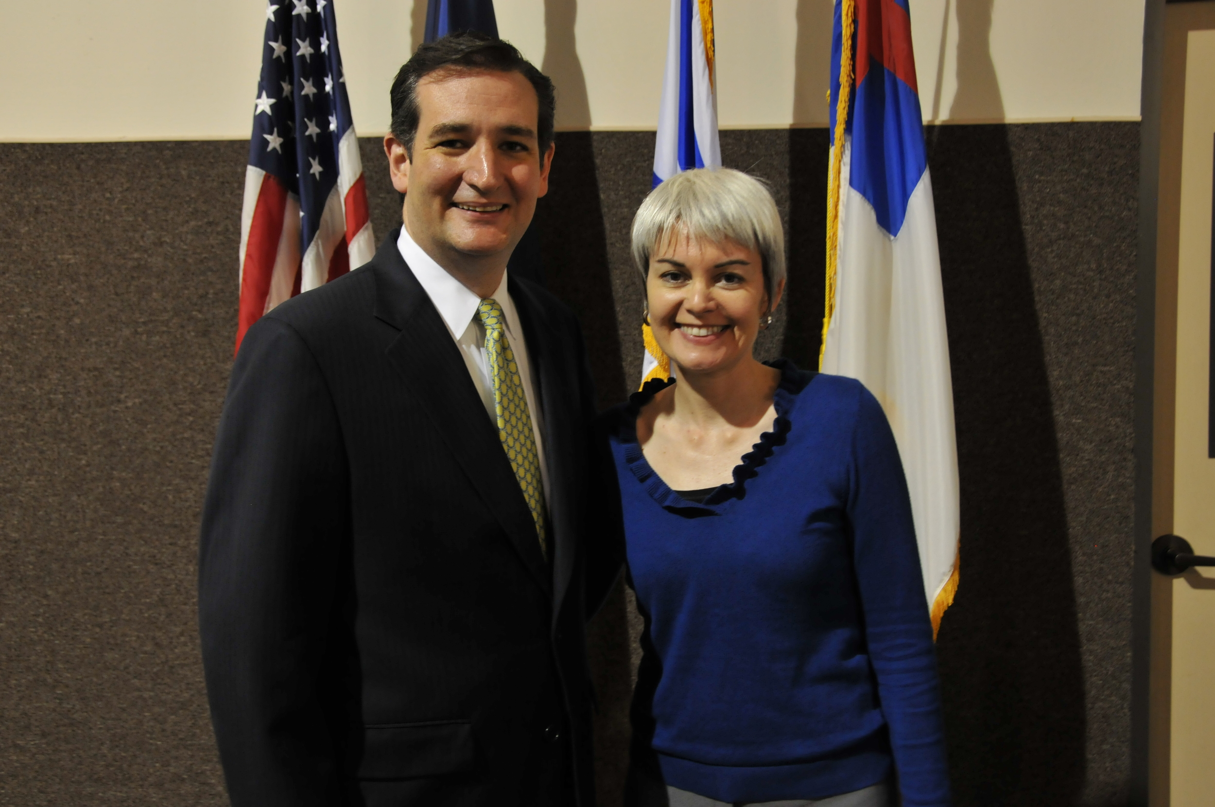 Texas Patriots PAC President Julie Turner with Ted Cruz during his campaign for U.S. Senate.