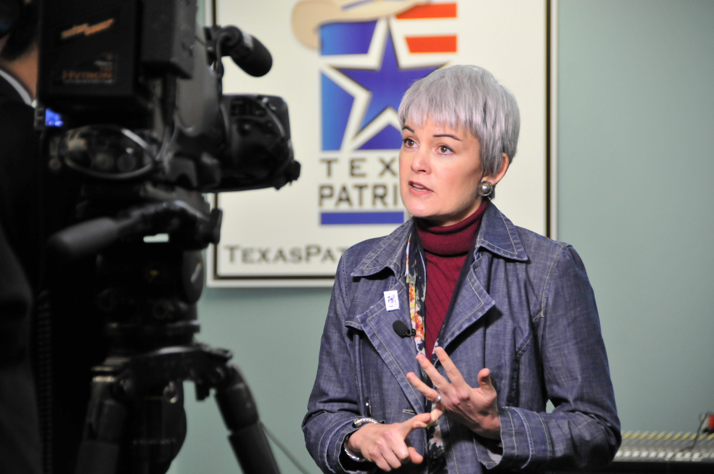Texas Patriots PAC President Julie Turner being interviewed by CBN for a story about the success of the Tea Party movement in Texas.