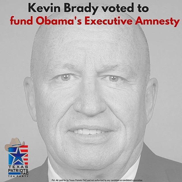 Kevin Brady voted for HR 2029, which funded Obama's unconstitutional executive amnesty program. It's time to send a leader to Congress who will stand up against amnesty and fight to secure the border. Vote for Steve Toth for Congress on March 1st! #DefeatKevinBrady #VoteforToth #thewoodlands #thewoodlandstx #lakeconroe  More info: http://www.texaspatriotspac.com/steve-toth